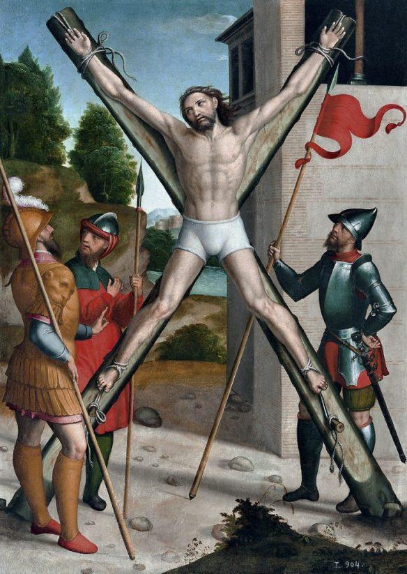 Crucifixion of St. Andrew, by Juan Correa de Vivar (1540 - 1545) source