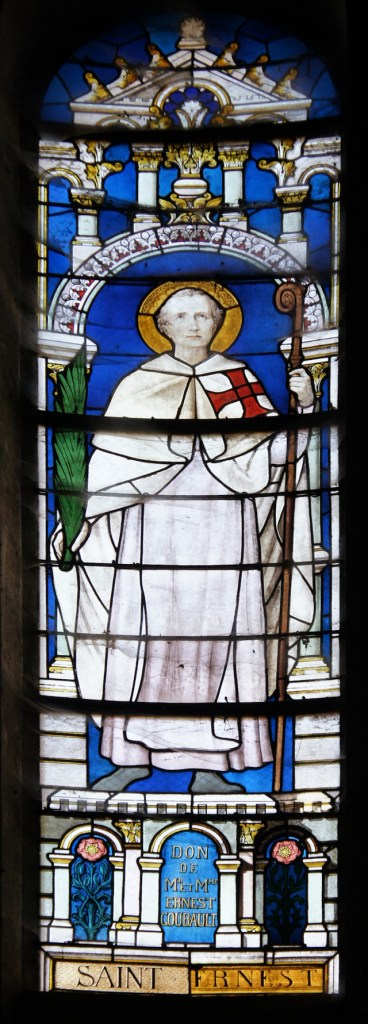 Saint Ernest, in a stained glass window of the Church of St Peter and Paul, Épernay. Photo bBy G.Garitan - Own work, CC BY-SA 3.0, Link