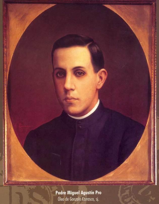 Portrait of Blessed Miguel Pro, from La Sagrada Familia Church (source)