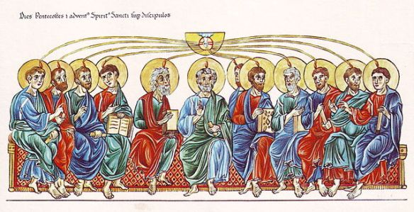 Medieval illustration of Pentecost from the 12th-century Hortus deliciarum of Herrad of Landsberg (details)