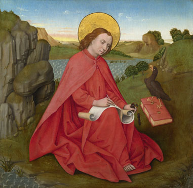 Saint John on Patmos about 1460-70, German, South. The National Gallery.