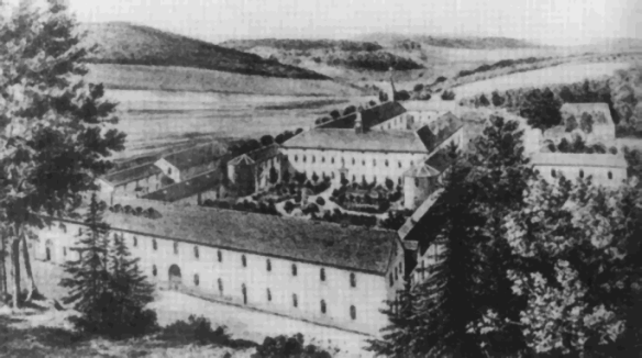 The Cistercian Abbey of Notre Dame-des-Neiges, where he became a monk.