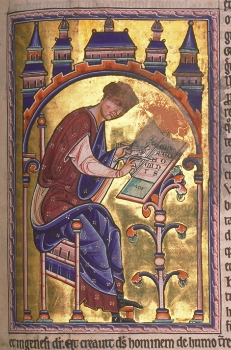 St. Isidore, from the 12th-century Aberdeen Bestiary (see the Aberdeen Bestiary website)