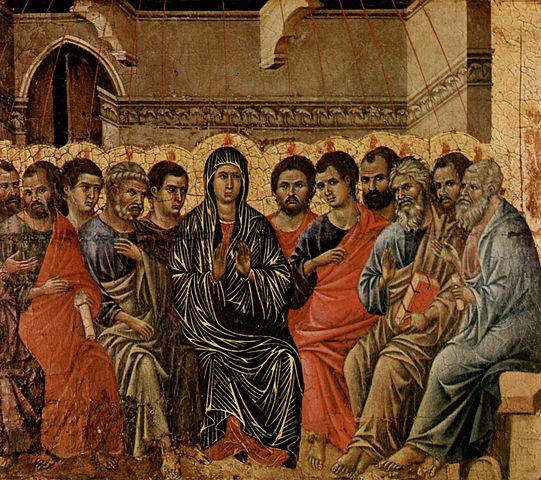 Pentecost (1308), by Duccio di Buoninsegna (details)