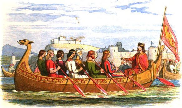 Edgar the Peaceful sits aboard a barge manned by eight kings, as it moves up the River Dee (source/details)