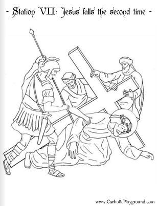 Coloring page for the seventh station: Jesus falls the