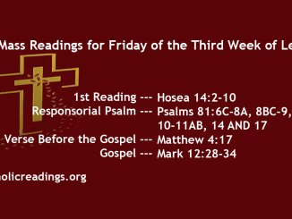 Friday of the Third Week of lent