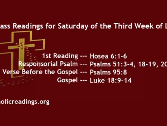 Saturday of the Third Week of Lent
