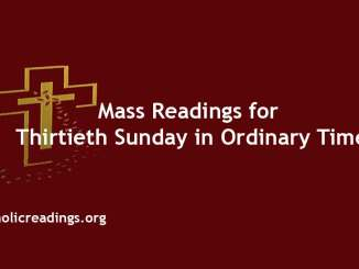 Mass Readings for Thirtieth Sunday in Ordinary Time
