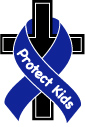 """Catholics4Change logo is a blue ribbon that reads """"Protect Kids"""" wrapped around Jesus' cross"""