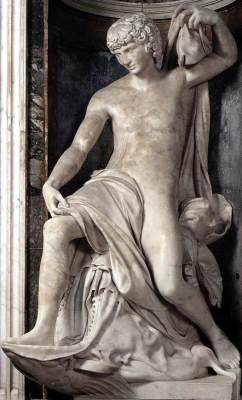 marble statue of Jonah the Prophet, by Lorenzetto, 1519-20, Santa Maria del Popolo, Rome, Italy