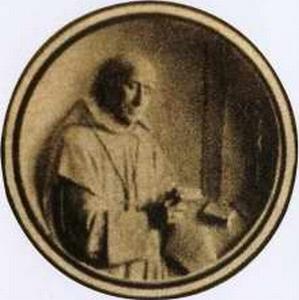 detail of an antique Italian holy card of Beato Airaldo di Saint-Jean-de-Maurienne; swiped with permission from Santini Imagini