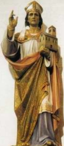 detail of an antique Italian holy card of Saint Albinus of Brixen featuring a photograph of a statue of Saint Albinus, date unknown, photographer unknown, sculptor unknown; swiped with permission from the Santini Imagini web site