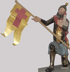 statue of Saint Arnold of Hiltensweiler, date unknown, artist unknown; Parish Church of Saint Dionysius, Hiltensweiler, Tettnang City, Germany; photographed in May 2006 by Andreas Praefcke; swiped from Wikimedia Commons