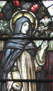 detail of a stained glass window of Saint Catherine of Siena, artist unknown, date unknown, Anglican church of Saint Giles, Cambridge, England; swiped with permission off the flickr site of Father Lawrence Lew, OP
