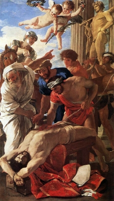 detail from the painting 'The Martyrdom of Saint Erasmus', by Nicolas Poussin, 1628, oil on canvas, Musei Vaticani, Vatican