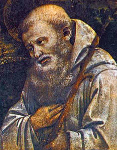image of Saint Romuald, a detail of the painting 'Adoration of the Child with Saints', by Fra Filippo Lippi, c.1463, tempera on wood, Galleria degli Uffizi, Florence, Italy