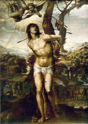 detail from the painting 'Saint Sebastian Muhlenkort'; Giovanni Antonio Bazzi, 1525, oil on canvas; Galleria Palatina, Florence, Italy