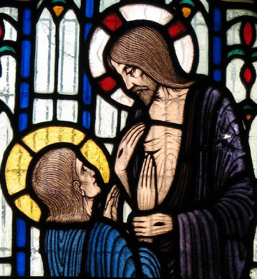 stained glass window of Saint Thomas the Apostle; date and artist unknown; north wall, Saint Birinus Church, Dorchester, England; swiped with permission from the flickr account of Father Lawrence Lew, OP