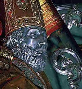 funeral mask of Saint Valentine, artist unknown, photographer unknown; swiped off a Travel Italy web site