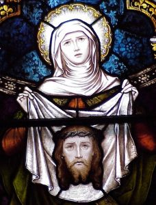 Saint Veronica stained glass window, Saint Joseph's Cathedral, Macon, Georgia, USA; artist unknown; photographed by the author, summer 2003