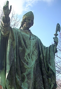 photograph of a statue of Saint Bernward of Hildesheim, artist unknown, taken on 24 February 2009 by Rabanus Flavus; swiped off the Wikipedia web site