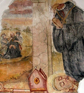 medieval fresco depicting the death of Saint Bruno; swiped off the Wikipedia web site