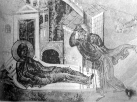 illustration of Saint Euphrosyne on her death bed revealing her true identity to her father; from the Basil Menology; swiped off the Wikipedia web site