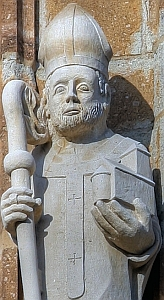 detail from a photograph of a statue of Saint Heribert of Cologne on the town hall tower in Koln, Germany; taken on 5 September 2009 by Raimond Spekking; swiped off the Wikipedia web site