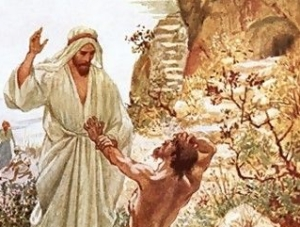 Jesus meeting with a demoniac in the country of the Gadarenes, by William Brassey Hole