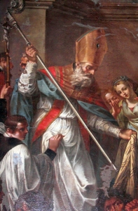 detail of a painting of Saint Leo of Catania overcoming the magician of Heliodorus
