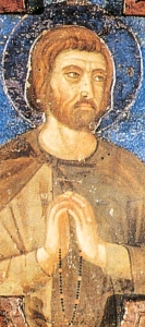detail of a 14th century painting of Blessed Luchesius, artist unknown; swiped from Wikimedia Commons