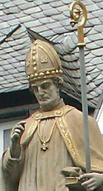 statue of Saint Lull, date and artist unknown; Bad Hersfeld, Germany; photographed on 14 June 2004 by 2micha; swiped from Wikimedia Commons