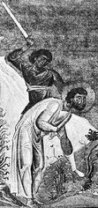 detail of an illustration of the martyrdom of Eleutherius; Menologion of Basil; swiped from Wikimedia Commons