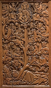 photograph of a medieval wooden panel with a bas-relief depiction of the Tree of Jesse; swiped with permission from the flickr site of Brother Lawrence Lew, OP