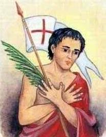 detail of an Italian holy card of Saint Edisto by Bertoni, date unknown; swiped from Santi e Beati