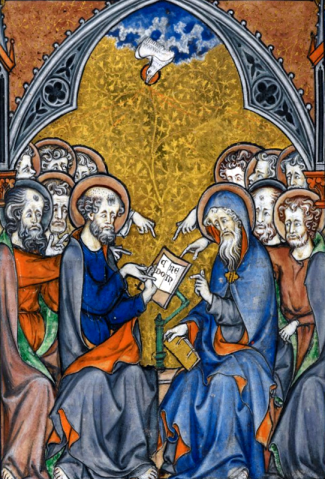 detail of an illustration of the Apostles working on the Creed with the inspiration of the Holy Spirit; 1295, artist unknown; swiped from Wikimedia Commons