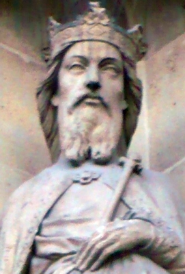 detail of a statue of Saint Gontran; date unknown, artist unknown; left side of entrance porch, Basilica of Saint Clotilde, Paris, France; photographed on 3 October 2009 by Romain0; swiped from Wikimedia Commons