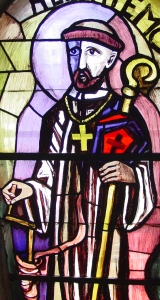 photograph of a stained glass window of Saint Thiemo of Salzburgin Liesing Austria; swiped from Wikimeida Commons