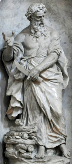 statue of Abraham the Patriarch; the logs at his right foot are for the sacrifice of his son Isaac, whose statue is nearby; 1754 by Gian Maria Morlaiter; Our Lady of the Rosary Jesuit Church, Venice, Italy; photographed on 4 September 2012 by Dick Stracke; swiped from Wikimedia Commons