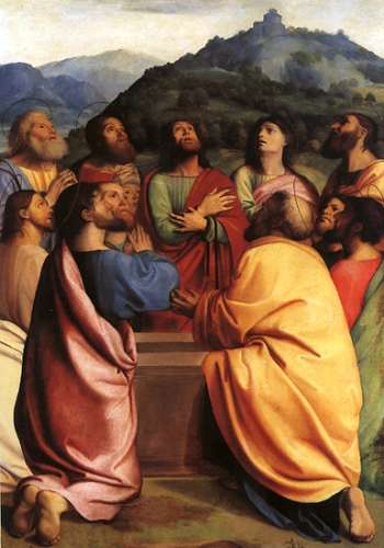 detail of the painting 'Apostles around the Sepulchre' by Albertino Piazza, early 16th century; Staatliche Museen, Berlin, Germany; swiped from Wikimedia Commons