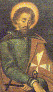 detail from a painting of Blessed Adrian, by Edward Caruna Dingli, Museum of the Order of Saint John, Malta