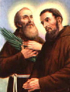 detail of an Italian holy card of Blessed Angathangelus and Blessed Cassianus, date unknown, artist unknown