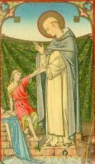 19th century holy card of Blessed Ceslas bringing the drowned child back to life, artist unknown