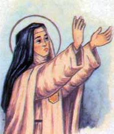 detail of an Italian holy card of Blessed Elizabeth Guillen by Bertoni, date unknown; swiped from Santi e Beati