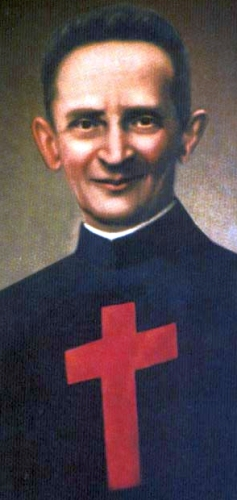 detail of the beatification portrait of Blessed Enrico Rebuschini, date and artist unknown; swiped from Santi e Beati