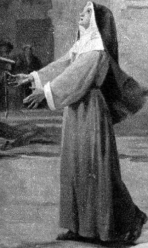 detail of an illustration of Blessed Françoise Tréhet, date and artist unknown; swiped from Santi e Beati