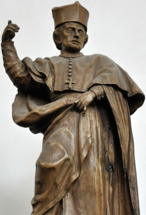 statue of Blessed Gilbert of Neuffontaines; from the workshops of Georg Anton Machein, 1715-1717; church of Saint Magnus, Bad Schussenried, Germany; photographed in September 2011 by Andreas Praefcke; swiped from Wikimedia Commons