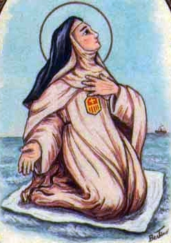 detail of an antique Italian holy card of Blessed Giovanna Irrizaldi, by Bertoni, date unknown; swiped from Santi e Beati
