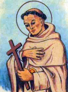 detail of an antique holy card of Blessed Giovanni of Medina by Bertoni, date unknown; swiped from Santi e Beati